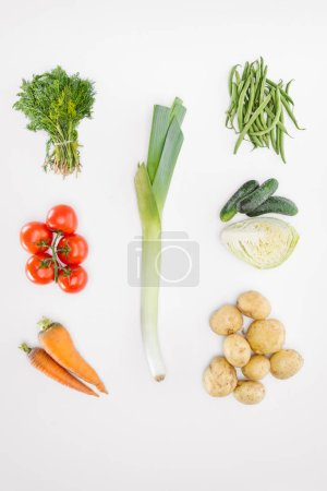 Photo for Flat lay with various seasonal ripe vegetables with leek in middle isolated on white - Royalty Free Image
