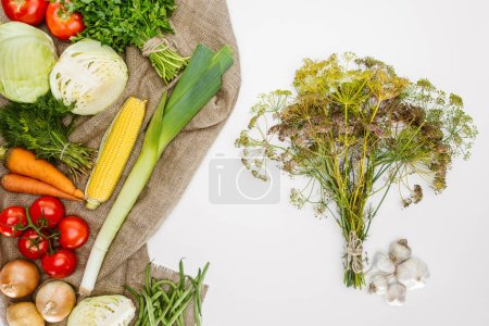food composition with fresh vegetables arranged on sackcloth isolated on white