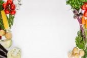 """Постер, картина, фотообои """"вид сверху состава пищи с различными сезонные спелые овощи, изолированные на белом"""""""