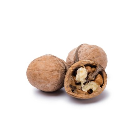 natural walnuts isolated on white background