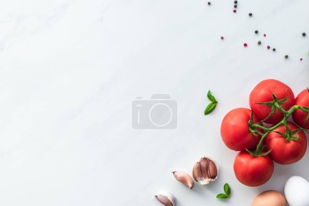 Photo for Top view of ingredients for cooking omelette for breakfast on white marble surface - Royalty Free Image