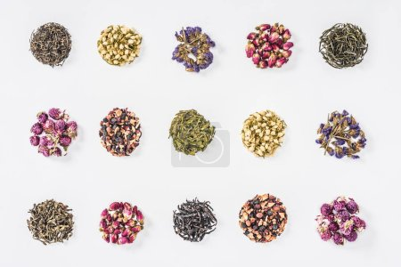 collection of dried herbal organic tea isolated on white