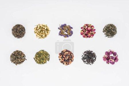 Foto de Círculos de té orgánico seco en líneas aisladas en blanco - Imagen libre de derechos