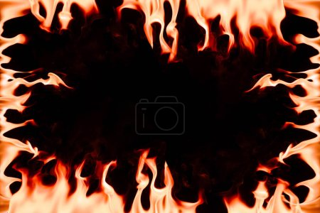Frame with burning orange flame with blank space in middle on black backdrop