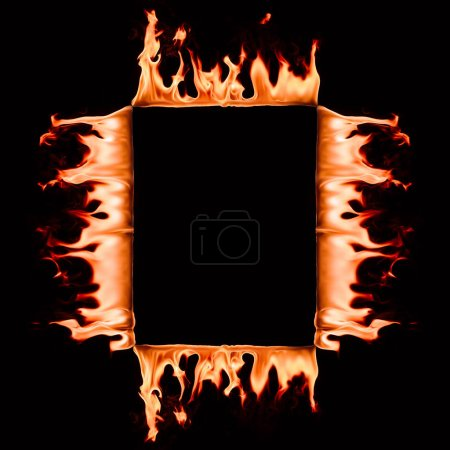 close up view of burning square frame isolated on black