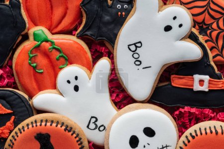 full frame image of delicious homemade halloween cookies