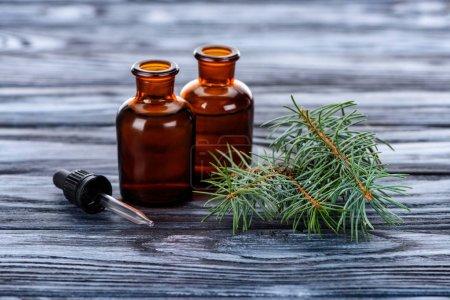 Photo pour Bouteilles d'huiles essentielles à base de plantes naturelles, de branchettes de sapin et de pipette sur table en bois - image libre de droit