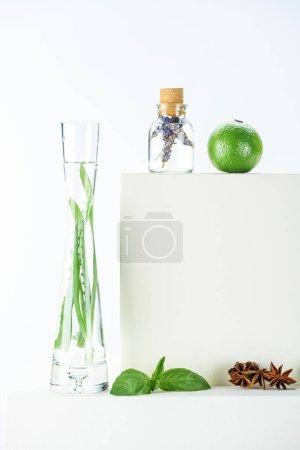 Foto de Botella transparente y florero de aceites esenciales de hierbas naturales, limón y clavel en superficie blanca - Imagen libre de derechos