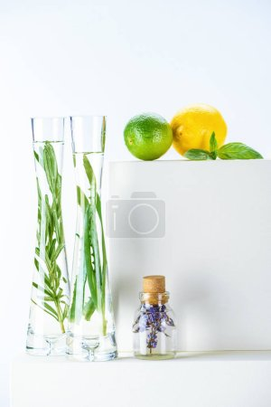transparent bottle and vases of natural herbal essential oils and lime with lemon on white surface