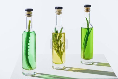 bottles of essential green and yellow oils with plants on white surface