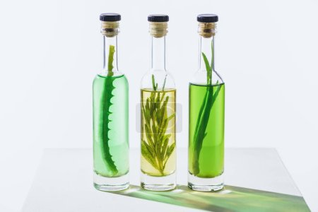 transparent bottles of essential green and yellow oils with plants on white surface