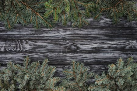 top view of beautiful evergreen fir branches on wooden background