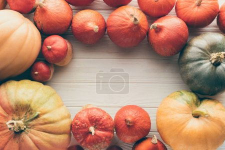 Photo for Top view of ripe organic pumpkins on wooden tabletop - Royalty Free Image