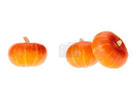 Photo pour Trois citrouilles appétissants orange mûres isolés sur blanc - image libre de droit