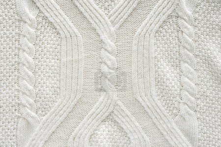 Photo for Full frame of white knitted cloth with pattern as background - Royalty Free Image