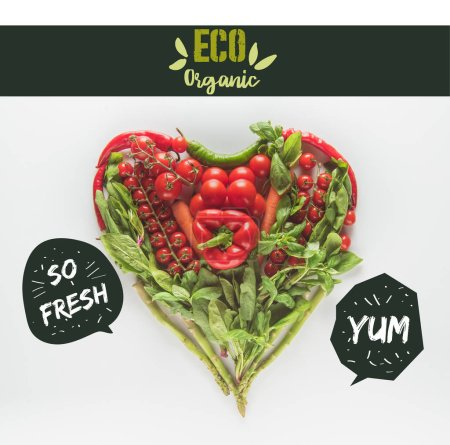 "red and green heart shaped vegetables isolated on white with ""eco organic"" lettering"