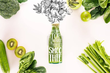 """Photo for Flat lay with detox drink and various organic food isolated on white with """"how to make a perfect smoothie"""" inspiration - Royalty Free Image"""