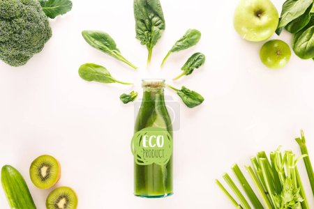 "flat lay with detox drink and various organic food isolated on white with ""eco product"" lettering"