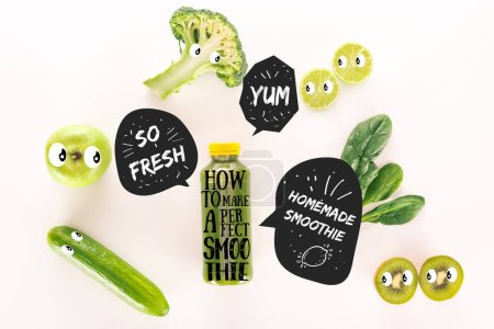 "flat lay with detox drink and various organic food isolated on white with ""how to make a perfect smoothie"" lettering"