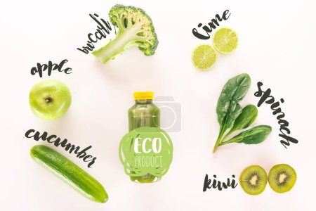 "Photo for Flat lay with detox drink and various organic food isolated on white with ""eco product"" lettering - Royalty Free Image"