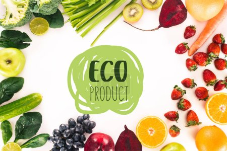 "top view of arrangement with fresh vegetables, fruits and berries isolated on white with ""eco product"" lettering"