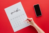 cropped view of woman writing black friday in calendar for November isolated on red with smartphone