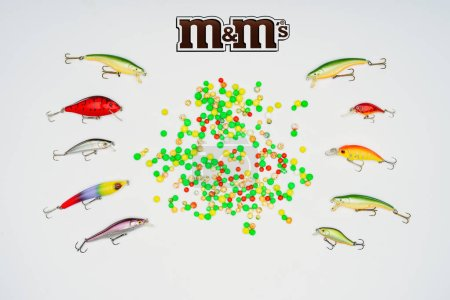 elevated view of colorful candies surrounded by fishing bait placed in rows and sign m&m's isolated on white