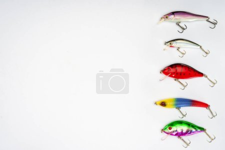 top view of various fishing bait placed in row isolated on white background