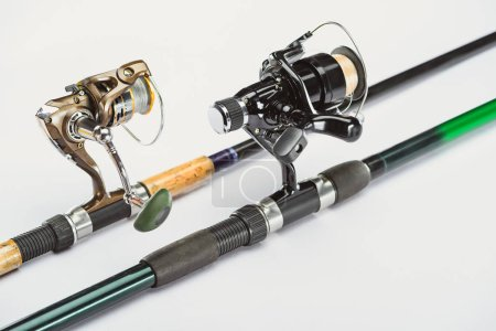 close up view of fishing rods isolated on white