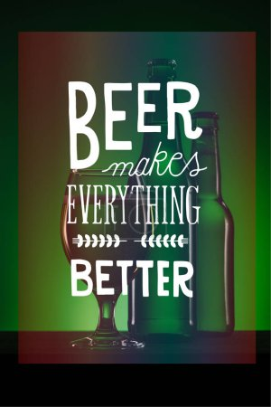 """bottles and glass of beer on dark green background with """"beer makes everything better"""" inspiration"""