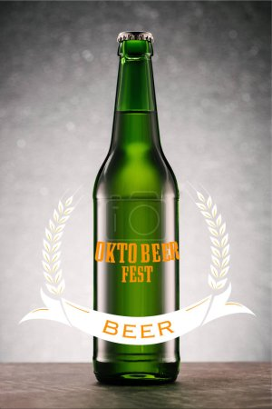 "beer bottle on tabletop on grey background with ""oktoberfest beer"" lettering"