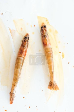 top view of uncooked tasty shrimps on white surface with watercolor strokes