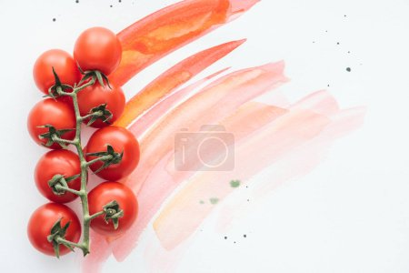top view of branch of fresh cherry tomatoes on white surface with red watercolor strokes