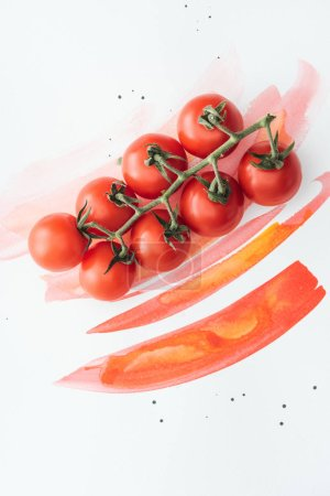 top view of branch of ripe cherry tomatoes on white surface with red watercolor strokes