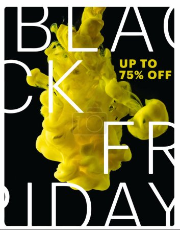 Photo for Bright yellow flowing paint explosion on black background with black friday sale - Royalty Free Image
