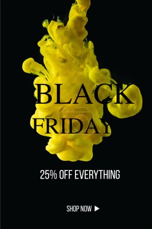 bright yellow flowing paint explosion on black background with black friday promotion