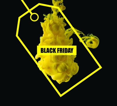 bright yellow flowing ink on black background with sale tag for black friday