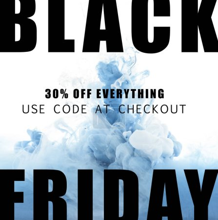 mixing of blue and white paint splashes with 30 percents discount for black friday