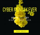 yellow flowing ink on black background with 70 percents off on biggest sale ever - cyber monday ever