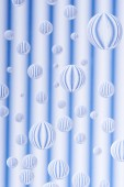 beautiful transparent water drops on striped white and blue background