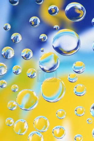 beautiful calm clean water drops on bright blurred background
