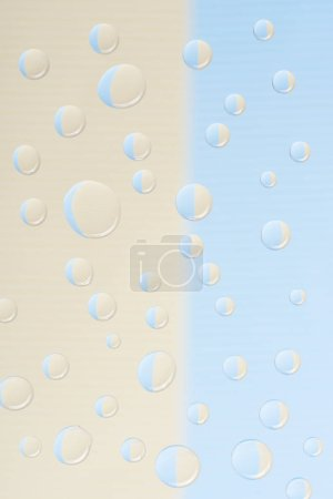 close-up view of transparent water drops on light abstract background