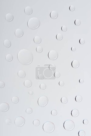 Photo for Close-up view of transparent water drops on light grey background - Royalty Free Image