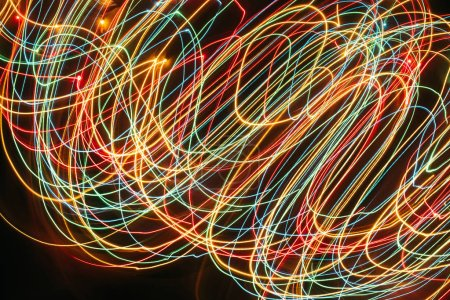 bright garland lights with long exposure, christmas concept