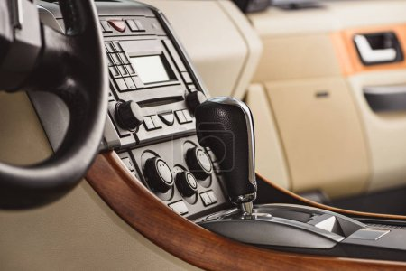 close up view of stylish leather car saloon