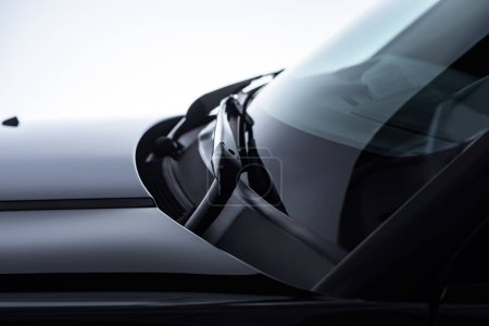 close up view of shining black automobile