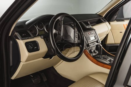 close up inside view of luxury new car