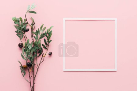 elevated view of frame and branch with decorated berries on pink