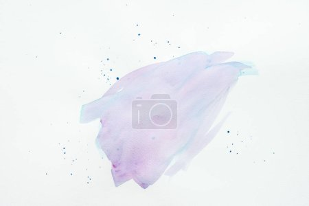 abstract violet and blue watercolor stroke with spots on white paper