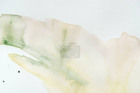 abstract green and yellow watercolor painting on white background